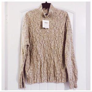 8th&Madison Beige/Brown Heather Turtleneck Sweater
